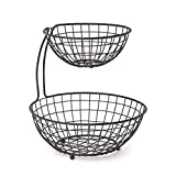 Spectrum Diversified Grid Arched 2-Tier Basket Server Bowls for Storage Organization and Display of Produce Vegetables and Fruit, Industrial Gray, Medium