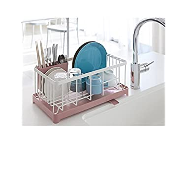 Stylish Sturdy Stainless Steel Metal Wire Medium Dish Drainer Drying Rack for Kitchen Countertop(pink)