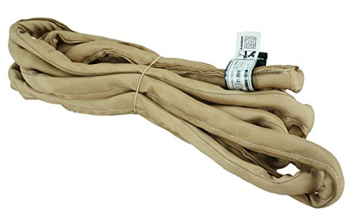 USA Made VR4 X 16' Tan Slings 4'-30' Lengths in Listing, Double PLY Cover Endless Round Poly Lifting Slings, 10,600 lbs Vertical, 8,500 lbs Choker, 21,200 lbs Basket (USA Poly) (16 FT)