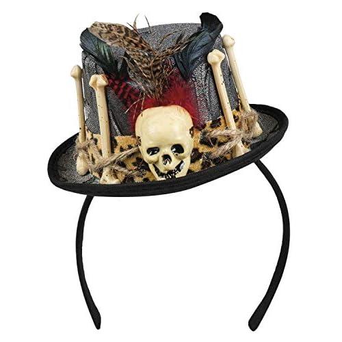 Tiara cappellino Voodoo Freda con decorazioni ossa e piume, grigio