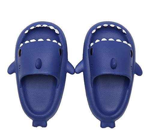 SMajogn Scarpe da Spiaggia e Piscina Bambini Antiscivolo Pantofole da Bagno Carino Pantofole da casa Morbido Sandali a Punta Aperta Blu 23-24 EU