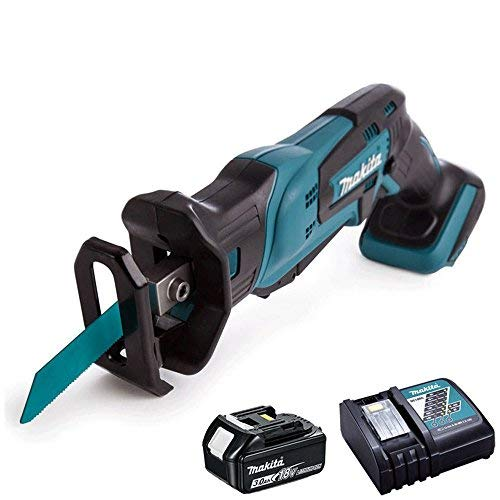 Makita DJR185Z 18V Cordless Mini Reciprocating Saw with 3.0Ah BL1830 Battery & DC18RC Charger