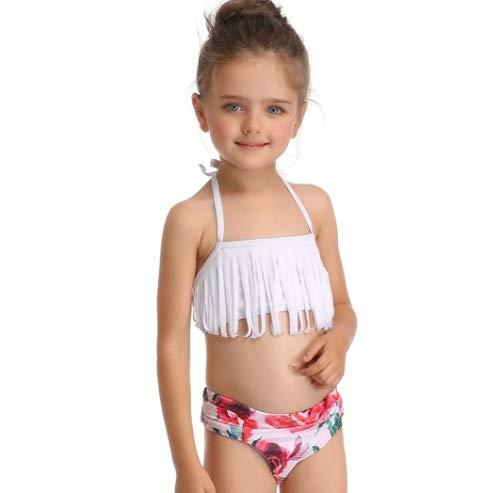 ZYLL Mamma mia Figlia Costumi da Bagno Mamma e Me Bikini Costume da Bagno Costumi da Bagno Famiglia Corrispondenza Mamma Figlia Vestiti Look Stampato Floreale,White,116CM