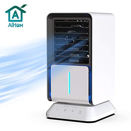 AiHom Luftkühler mit Verdunstungskühlung, 6 Stunden Wasserkühlung Klimagerät Mobil mit Luftbefeuchtung und Nachtmodus, mit Wasserkühlung, Klima,Weiß