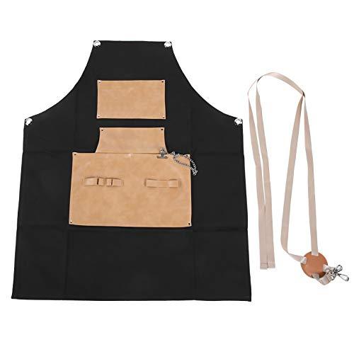 Delantal de peluquería Delantal de chef impermeable con longitud ajustable y bolsillos grandes, delantal de peluquería de cuero PU para peluquería, cafetería