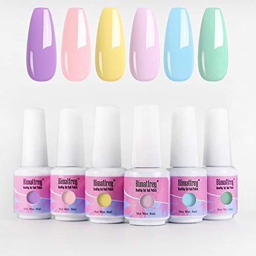 Bimatfrey Esmaltes de Uñas, Esmaltes en Gel Uñas UV LED, 6pcs Kit de Esmaltes Semipermanentes para Uñas, Kit de Esmaltes de Uñas en Gel Soak,Set de Regalo de Uñas de Gel de Colores (set1)