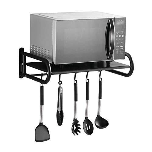 Mikrowelle Regal, Mikrowellenhalterung Schwarz Mit 5 Hakens, Wand Küchenregal für Mikrowellen, Ofen - L50 x W37 x H18cm