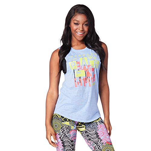 Zumba Aktiv Burnout Dance Workout Kleidung Damen Fitness-Tanktop mit Grafikdruck, Rain Mist, M