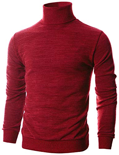 OHOO Mens Slim Fit Long Sleeve Turtleneck Mixed Ribbed Hem Pullover Sweater/DCP024-RED-L