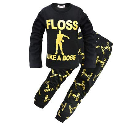 Pijama para Chicos Floss Like a Boss Pijamas Largos de algodón Blanco Negro
