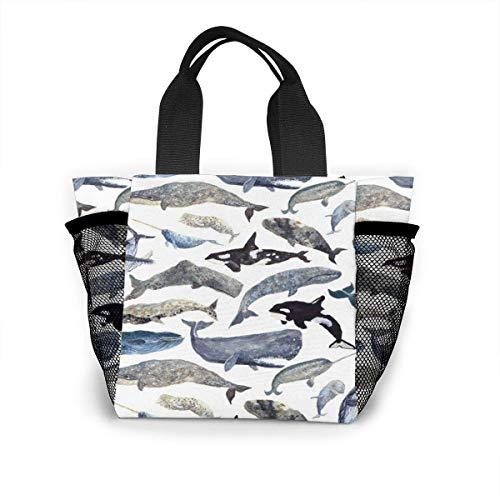 N/A Jongens Meisjes Geïsoleerde Neopreen Lunch Bag - Walvissen Tote Handtas Lunchbox Voedsel Container Pouch Voor School Werk Kantoor