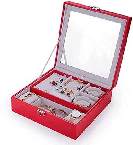 ZZZLL Joyery Box Organizer Organize Girls Caja de Almacenamiento de exhibición de Joyas de 2 Capas con Bloqueo de Espejo para Pendientes Brazaletes Anillos Relojes