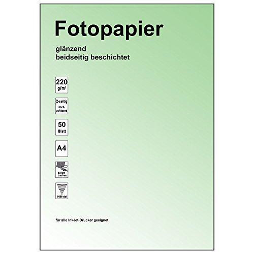 :100 Stk. Fotopapier glossy, 2-seitig glänzend, 9600dpi,220gr/m² für A4 / Neu:2-seitig / für doppelseitigen Fotodruck, sofort trocken, exakte Schärfe, hochweisse Oberfläche, Gute Qualität