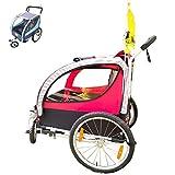 OLMME 2 in 1 Rimorchio per Bicicletta per Bambini Trolley A Mano A 2 Posti Rimorchio per Bambini Buggy Jogger 1-6 Anni Rimorchio Posteriore Pieghevole per Bici Genitore-Figlio(Color:Rosso)