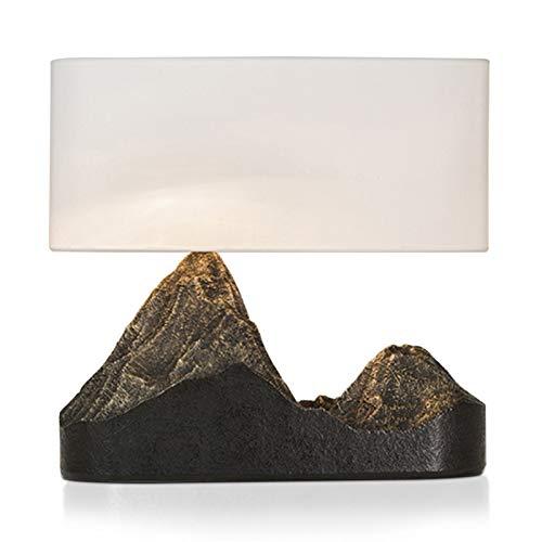 YIXIN2013SHOP Lámpara de Cabecera Lámpara de Mesa montaña Tipo de Resina Art Deco lámpara de cabecera con la Tela Blanca Shade, 15.7' L x 15' H LLámpara de Noche