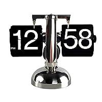 Fikujap Flipデジタル時計スモールスケールテーブルクロックレトロフリップクロックステンレススチールフリップ内歯車操作クォーツ時計ホーム装飾,A