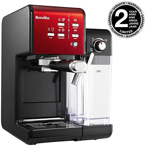 Breville PrimaLatte II Kaffee- und Espressomaschine VFC109X-01, 19 bar, fr Kaffeepulver oder Pads geeignet, Integrierter automatischer Milchsch?umer, schwarz/rot, VCF109X-01