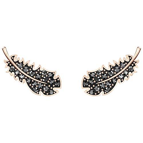Swarovski Crystal Naughty - Pendientes de plumas negras, tono oro rosa
