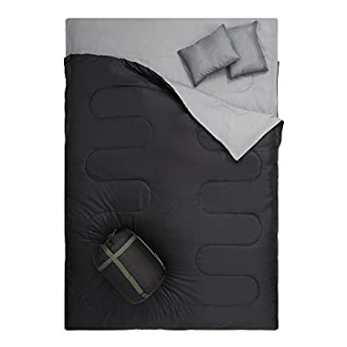 OtdAir Double Sleeping Bag with Pillows/2 Person Waterproof Lightweight Portable Sleeping Bag For Camping, Backpacking, Hiking Black,Travel