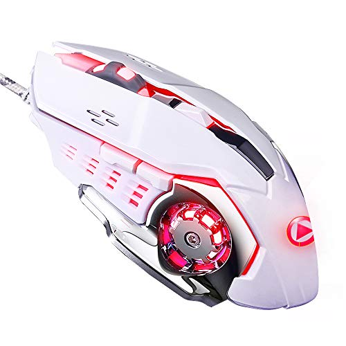 LENRUE Laser Gaming Mouse Wired with 6 Programable Buttons 4 Color Cycle Breathing, High Precision Metal Base, Used for games and office
