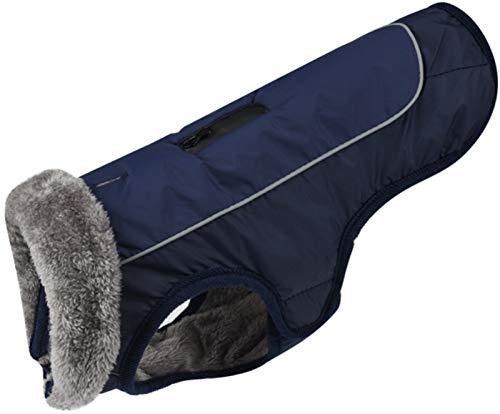 DHGTEP Ropa de Abrigo de Vellón para Perro Abrigo de Invierno Reflectante Impermeable de Cable para el Perro Pequeño Mediano Grande del Animal DoméStico (Color : Blue, Size : S)