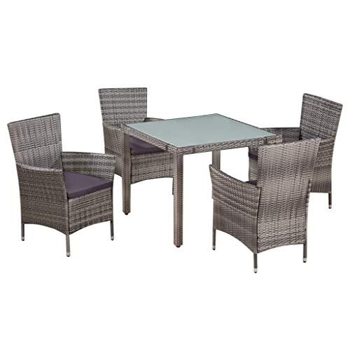 Festnight Ensemble Salon de Jardin en Résine Tressée Mobilier d'extérieur pour Patio 1 x Table + 4 chaises + 4 Coussins de siège