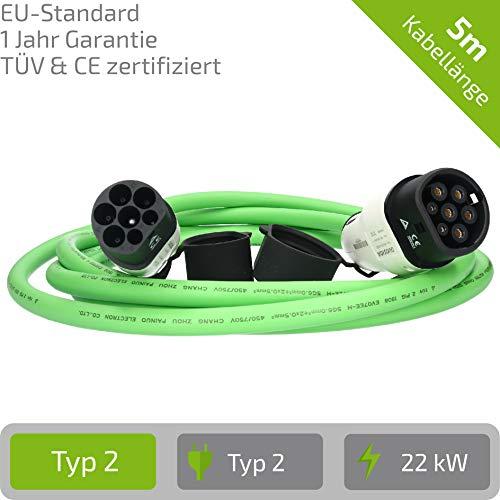 E-Autos.de EV Ladekabel für Elektrofahrzeuge | Stecker: Typ 2 zu Typ 2 (Mennekes) | 32A | 3-phasig | Kabellänge: 5m | 1 Jahr Garantie | Zertifiziert mit CE und TÜV Zulassung (Grün)