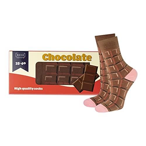soxo lustige Schokolade Damen Socken Geschenkbox | Größe 35-40 | Bunte Damensocken aus Baumwolle | Besondere, mehrfarbig gemusterte Lange Socken für Frauen