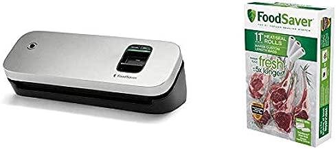 FoodSaver 31161366 Space Saving Food Vacuum Sealer, 5.7 x 12.2 x 4.3 inches, Silver & 11