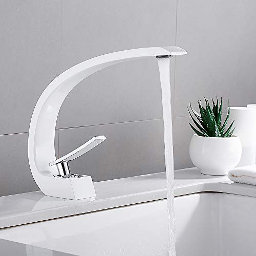 Waschtischarmatur für Bad Wasserhahn Bad Armatur Chrom Einhebelmischer Geeignet für modernes Bad, Küche (Weiß)