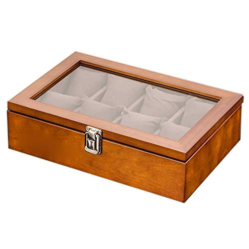 CWC Uhrenbox mit 10 Fächern, Kirschbau, Aufbewahrungsbox mit Glasdeckel