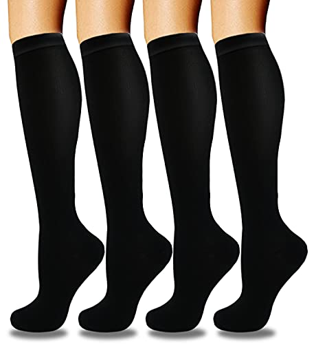 Compression Socks for Women & Men Circulation (4 Pairs)- Best Support for Nurses, Running, Hiking, Medical, Pregnancy
