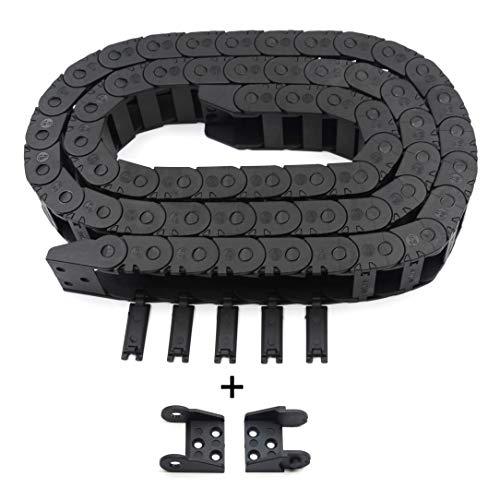 Befenybay R18 Dimensioni interne 10 x 20 mm, lunghezza 1 m, in plastica nera, flessibile trascinamento, cavo a catena per cavo aperto per stampante 3D e macchine CNC (10 mm x 20 mm all'esterno aperto)