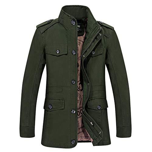 Strungten Herren Jacke,Herren Winter Warme Mode Einfarbig Mantel Casual Pilotenjacke Lose Sweatshirt 2 in 1 Reißverschluss Knopf...