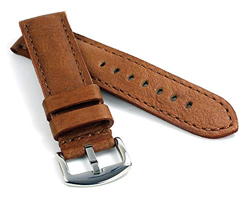 RIOS1931 Derby Vintage Rindsleder Uhrenarmband handgemacht in Deutschland Robust 20mm Cognac