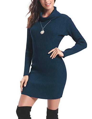 Aibrou Vestido de Punto Cuello Alto para Mujer,Vestido Ajustado Manga Larga Elegante Clásico,Vestidos Jersey Invierno (Azul, XXL)