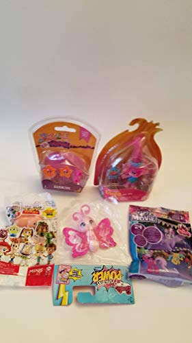 4 Girls Toys Figurines and one lala oopsies Earbuds Bundle: Toy Story Pig, Poppy Trolls, Barbie Butterfly and My Little Pony Blind Package (2 Packages Little Bent)
