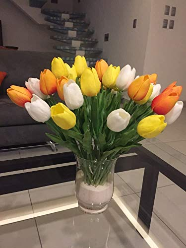20 tulipanes artificiales de tulipanes de flores de látex, tacto real, ramo de novia, para habitación de boda, hogar, hotel, fiesta, decoración (mandarina blanca y amarilla)