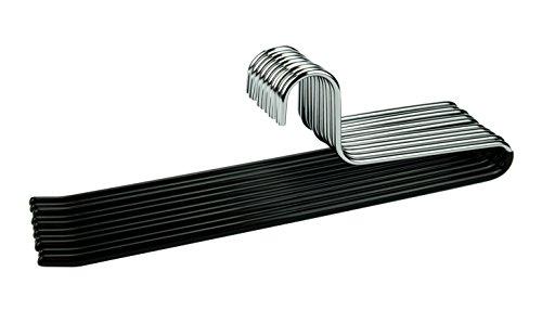 Cortec - 10 perchas de metal para pantalones con revestimiento de goma antideslizante en color negro