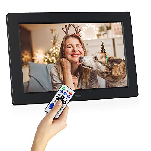 Digital Photo Frame 10.1 inch 1024×600 16:9 IPS Screen HD Digital Picture Frame with Motion Sensor, Auto-Rotate, Support Slideshow/Music/Video/Calendar,Support 32GB USB Drives/SD Card, Remote Control