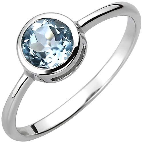 JOBO Damen-Ring aus 925 Silber mit Blautopas Größe 52