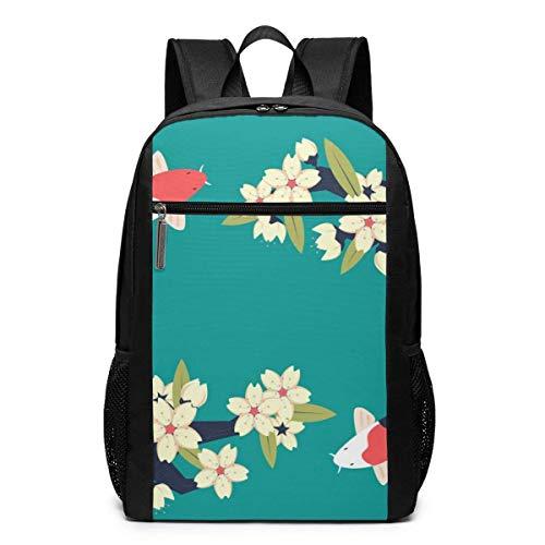 AOOEDM Travel Backpacks Koi Fish Cherry Green School Shoulder Laptop Daypack Bags 17 Inch for Girls Boys Men Womens, Black
