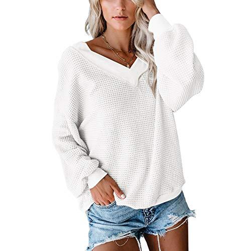2020 Herbst Neues V-Ausschnitt Loose Langarm T-Shirt Einfarbiges Top