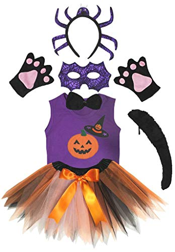 Petitebelle Camisa de diadema con mscara de araa morada, tut, 7 piezas, juego de disfraz de 1 a 8 aos (gorro de calabaza, 4 a 5 aos)