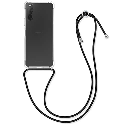 kwmobile Schutzhülle kompatibel mit Sony Xperia 10 II - Hülle mit Kordel zum Umhängen - Silikon Handy Hülle Transparent