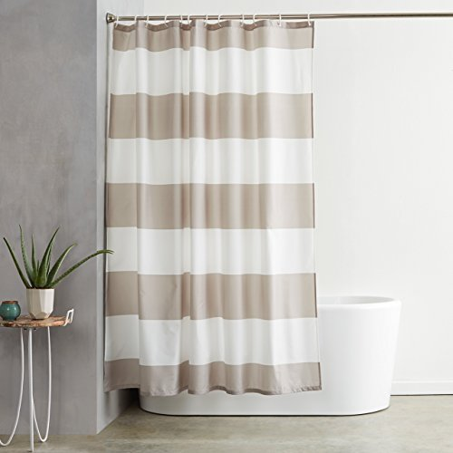 AmazonBasics Shower Curtain with Hooks - 72 x 72 Inch, Grey...