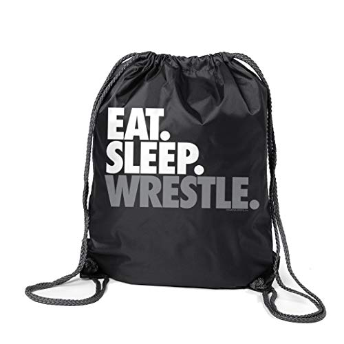 Wrestling Sport Pack Cinch Sack | Eat Sleep Wrestle | Black