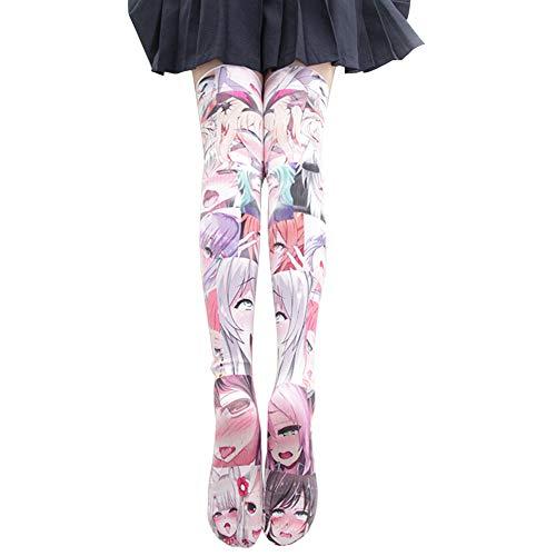 Ahego Disease Face Socks Thigh High Stockings Hentai Japanese Anime Lolita Cosplay, Ahegao Pink, Medium