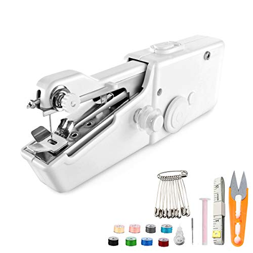 KEMOO Máquina de coser de mano, mini máquina de coser portátil, máquina de coser eléctrica herramienta para reparación rápida de tela, adecuada para ropa, tela vaquera, cortinas, cuero y bricolaje