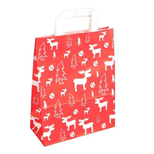 Pro DP 250 Papiertragetaschen Weihnachtstüten Geschenktüten Weihnachten Elch weiß auf rot 3 Verschiedene Größen (22+11x28cm)